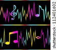 Seamless frequency lines forming musical notes. Can be used individually or as whole. Simple gradients. Modifiable colors. EPS/AI8 file. - stock vector