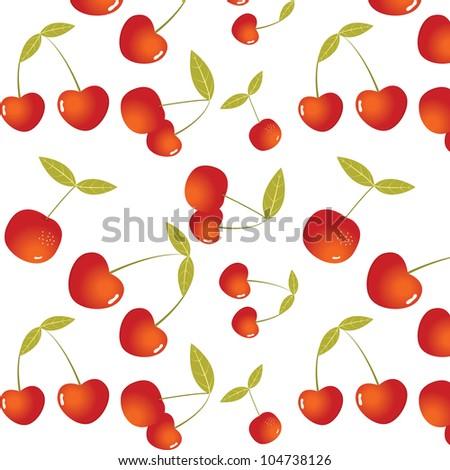 Seamless fresh red cherry pattern. Vector illustration - stock vector