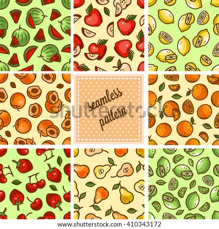 Seamless fruit backgrounds set- vector patterns with strawberry, cherry, lime, orange, citrus, pear. Vector illustration. Funny fruit. Cute Seamless Patterns. - stock vector