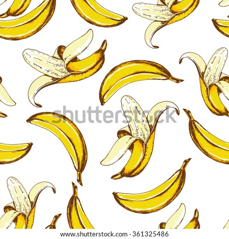 Seamless fruit pattern with banana. Hand drawn vector illustration in sketch style. - stock vector