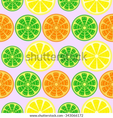 Seamless fruits vector pattern, bright colorful background with oranges, lemons and limes over light backdrop