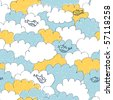 Seamless funny clouds and birds pattern - stock vector