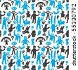 Seamless funny doodles pattern. Vector illustration. - stock vector