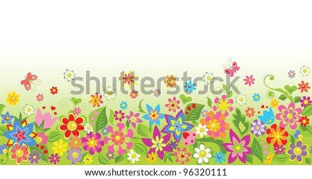 Seamless funny floral background - stock vector