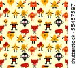 Seamless funny monsters pattern. Vector illustration. - stock vector