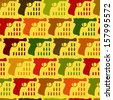 Seamless funny pattern with colored guns on yellow - stock