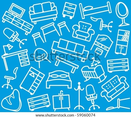 Seamless furniture background - stock vector