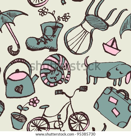 Seamless garden doodle pattern in cartoon style - stock vector