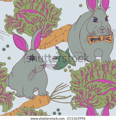 Seamless garden pattern with bunnies in vector - stock vector
