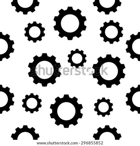 Seamless gear  pattern - black gears on white. Vector illustration. Eps 10 - stock vector