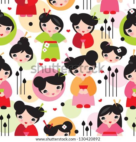 Seamless geisha girl illustration kids doll background pattern in vector - stock vector