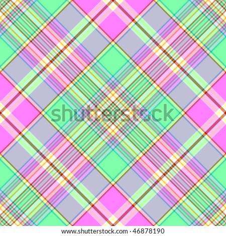 Seamless gentle green-pink diagonal pattern (vector EPS 10) - stock vector