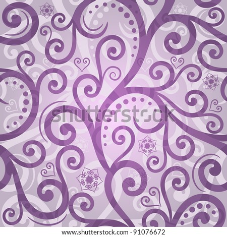Seamless gentle violet valentine pattern with curls, flowers and  hearts (vector EPS 10)
