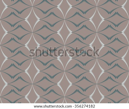 Seamless geometric abstract pattern. Rhombus bands, lines on light brown background. Brown, gray, beige pastel colors. Vector - stock vector