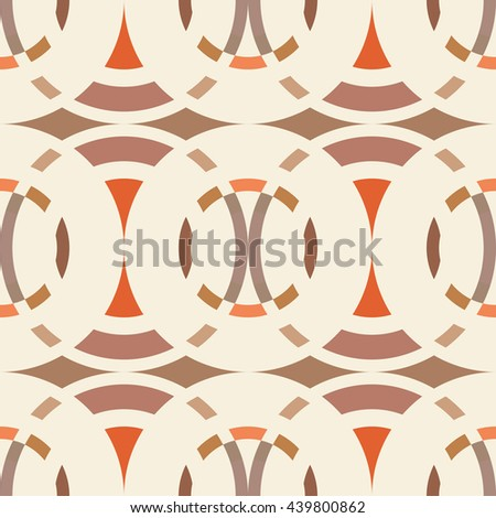 Seamless geometric abstract pattern. Rhombus, circle view braiding figure texture. Brown, beige, orange colored background. Vector - stock vector
