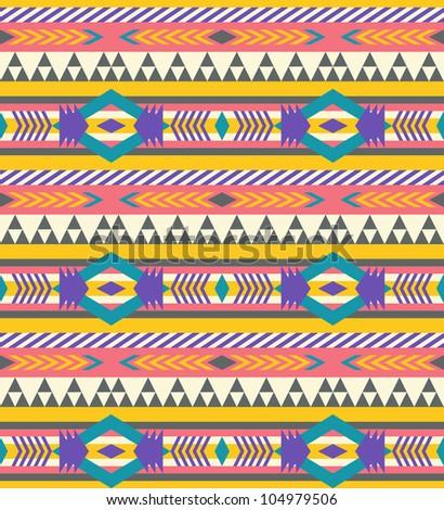 Seamless geometric aztec pattern #2 - stock vector