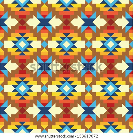 Seamless geometric aztec pattern 2 - stock vector