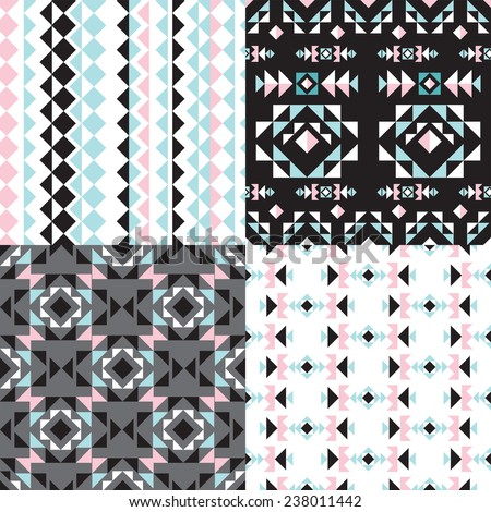 Seamless geometric aztec tribal theme pastel abstract background pattern collection set in vector - stock vector