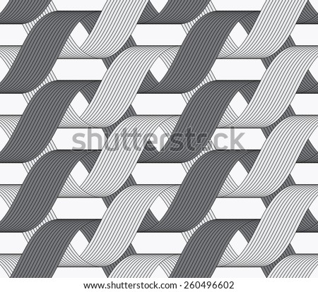 Seamless geometric background. Modern monochrome ribbon like ornament. Pattern with textured ribbons.Ribbons dark and light forming horizontal overlapping loops pattern. - stock vector