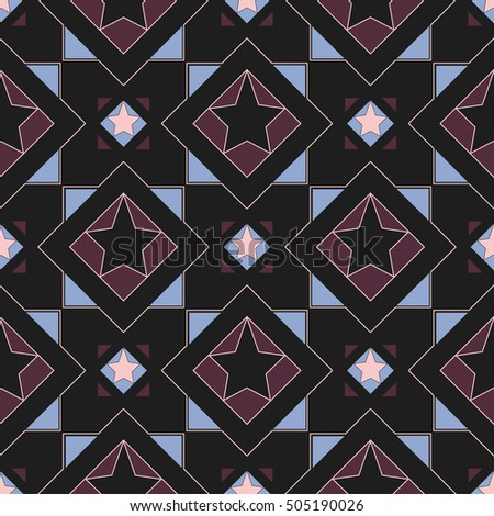 Seamless geometric background. The pattern of squares, triangles and circles