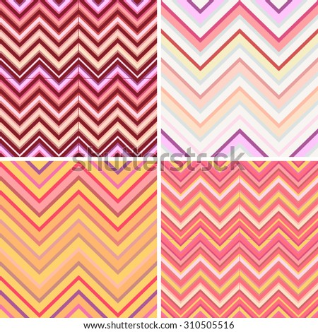 Seamless geometric backgrounds vector set. 4 colorful striped zigzagged patterns in modern color combinations perfects for templates, layouts, wrapping paper, fabric, tape and other prints.
