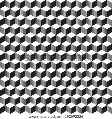 Seamless geometric black and white cube pattern - stock vector