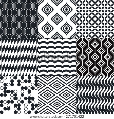 seamless geometric black white monochromatic background set