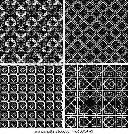 Seamless geometric checked designs set. Vector art. - stock vector