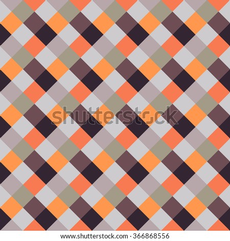 Seamless geometric checked pattern. Diagonal square, woven line background. Patchwork, rhombus, staggered texture. Brown, orange, beige, gray colors. Vector - stock vector