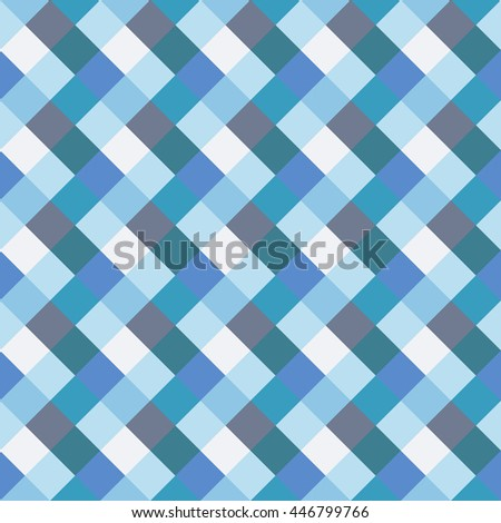 Seamless geometric checked pattern. Diagonal square, woven line background. Rhombus, patchwork texture. Blue, gray, aqua, white pastel colored. Vector - stock vector