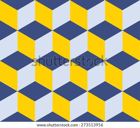 Seamless geometric colorful vector background. Cube shapes. Optical illusion