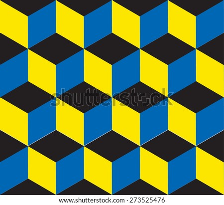 Seamless geometric colorful vector background. Cube shapes. Optical illusion - stock vector