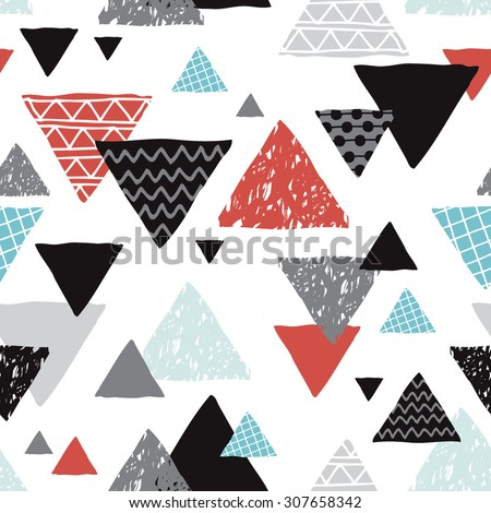 Seamless geometric coral blue black and white tribal triangle hand drawn pastel background pattern in vector - stock vector