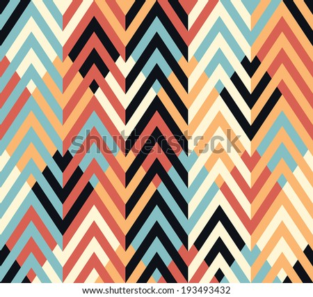 Seamless geometric ethnic zigzag pattern background - stock vector