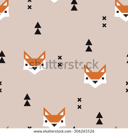 Seamless geometric fox kids fall illustration aztec arrows cute background pattern in vector in beige and orange - stock vector