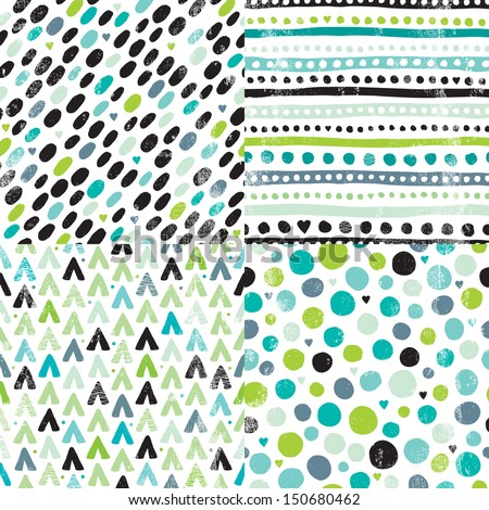 Seamless geometric hand drawn retro dots and aztec elements background pattern series in vector - stock vector