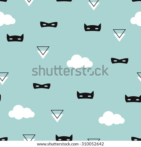 Seamless geometric kids blue super hero mask with clouds illustration background pattern in vector - stock vector