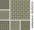 Seamless geometric latticed patterns set. Vector art. - stock vector