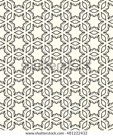 Seamless geometric line pattern. Contemporary graphic design. Endless hexagon texture for wallpaper, pattern fills, web page. Ethnic arabic indian ornament. Monochrome seamless lace background