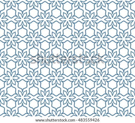 Seamless geometric line pattern in arabian style, ethnic ornament. Endless hexagonal texture for wallpaper, banners, invitation cards. Blue and white graphic lace background