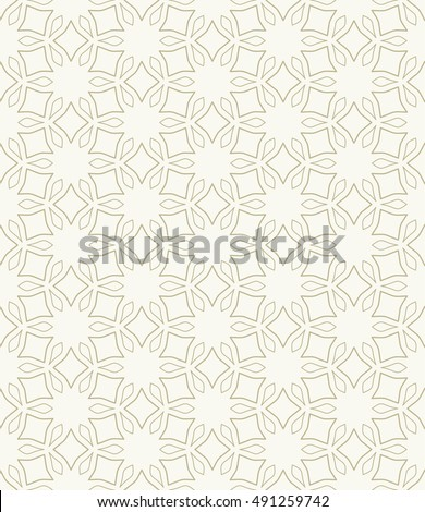 Seamless geometric line pattern in arabian style, ethnic ornament. Endless hexagonal texture for wallpaper, banners, invitation cards. Golden brown graphic lace background