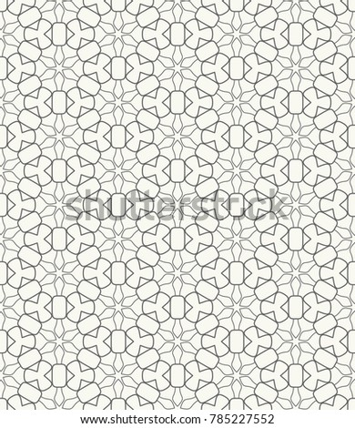 Seamless geometric line pattern in arabic style. Repeating linear texture for wallpaper, packaging, banner, invitation, business card, fabric print. Black and white graphic background, lace pattern