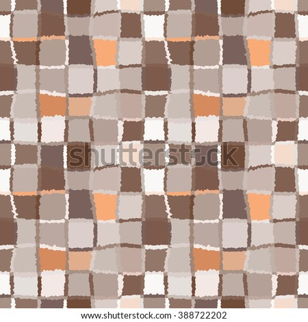 Seamless geometric mosaic checked pattern. Background of woven rectangles and squares. Patchwork, ceramic, tile texture. Brown, beige, orange colors. Vector - stock vector
