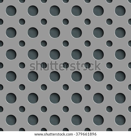 Seamless Geometric Pattern. Abstract Gray Background. Vector Hole Texture - stock vector