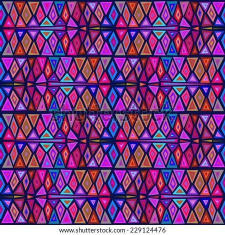 "Seamless geometric pattern ""African motifs"", multicolor pattern of triangles and rhombuses."