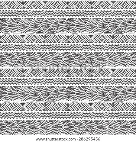 Seamless geometric pattern. Black and white graphics, diamonds, triangles and zigzags on a white background, ethnic, folk motives. - stock vector