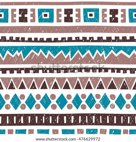 Seamless geometric pattern. Blue, brown and gray elements on white background. Ethnic and tribal motifs. Vintage ornament. Vector illustration.