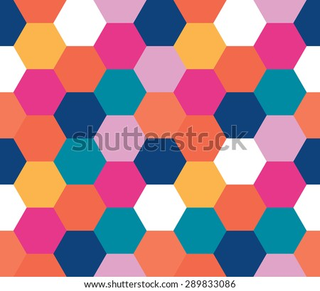 Seamless geometric pattern. Colorful infinity abstract honeycomb geometrical background. Sexangle, hexagon background. Vector illustration. - stock vector
