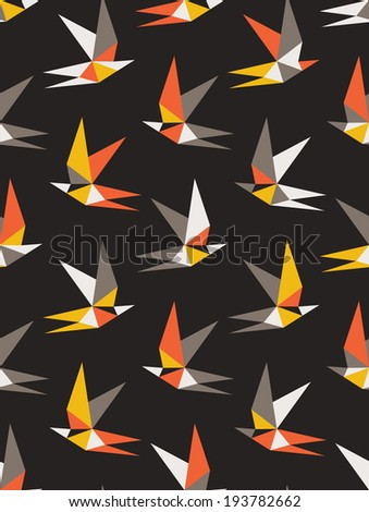 Seamless geometric pattern. Flying birds