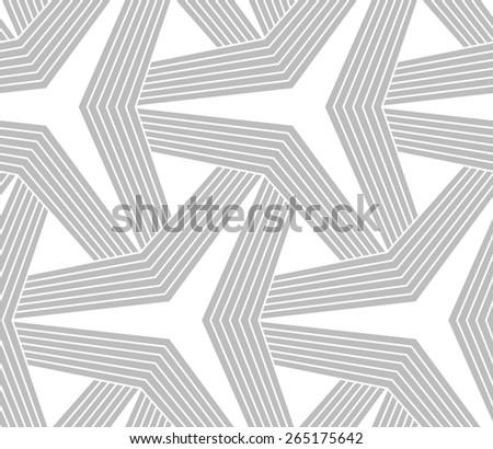 Seamless geometric pattern. Gray abstract geometrical design. Flat monochrome design.Monochrome striped three ray stars. - stock vector